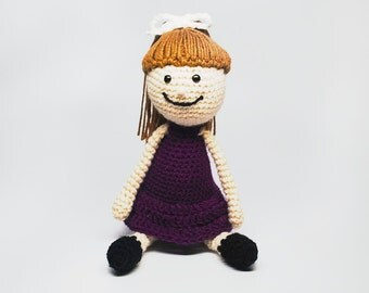 Custom Doll Purple Dress - Crochet Doll - Custom Crochet Doll - Brown Hair Doll - Kid's Toy Doll - Stuffed Doll - Kid's Birthday Gift