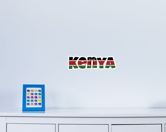 National Flag Country Name of Kenya Vinyl Wall Art