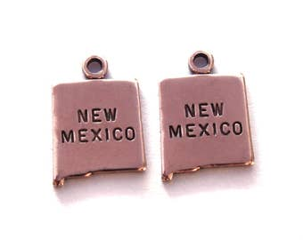 2x Rose Gold Plated Engraved New Mexico State Charms - M131-NM