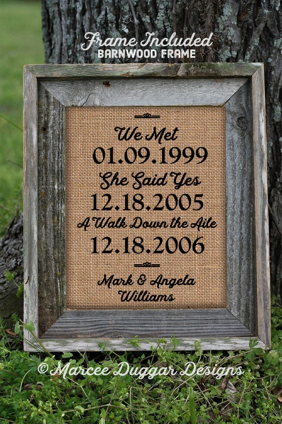 Framed Wedding Gift | Anniversary Gift| Couples Gift | Sweetheart | Personalized | Burlap Print Valentine's Day Gift | 2355