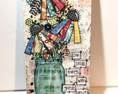 Jar of Flowers Painting |  Mixed Media  Flower Sign | Do Small Things with Great Love | Mixed Media Art