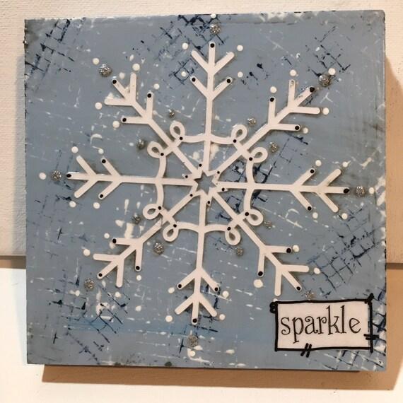 Little Snowflake Sign, Mixed Media Snowflakes, sparkle