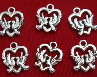 "BULK! 30pc ""love birds"" charms in antique silver style (BC350B)"