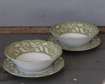 Meakin Renaissance Ironstone Soup Bowls / Set of 4 Vintage Green Farmhouse Soup Bowls and Plates / Ironstone Soup Bowl Set / Green Ironstone