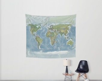 World Map Wall Tapestry hanging - Modern current map, beautiful map, blue green - travel decor, wall decor atlas, den, library, learning