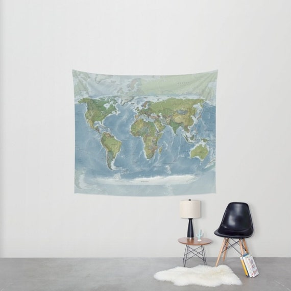 World Map Tapestry Wall hanging - Modern current map, beautiful map, blue green - travel decor, wall decor atlas, den, library, learning