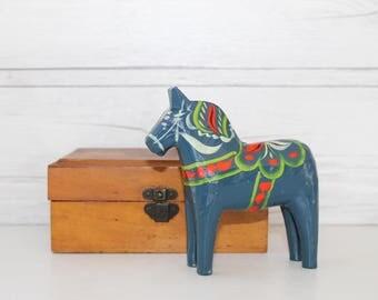 "Vintage Small 4"" Blue Hand Painted Swedish Folk Art Dala Horse Souvenir, Swedish Dalecarlian Horse"