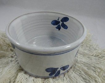 Vintage Blue White Pottery Bowl Red Clay Hand Thrown Clay Pottery Bowl