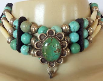 Vintage 3 Strand Native American Bone Turquoise Silver Beaded Choker Necklace