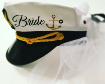 Nautical bachelorette hats, veil captain hat, bachelorette cruise, bride hat, sailor hat, cruise bachelorette, cruise wedding