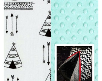 Carseat Canopy Aztec Tribal Teepee Minky Infant Carseat Cover Pick your Minky