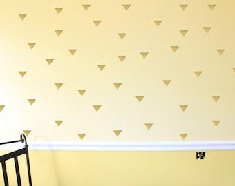 Tiny Triangle Decals. Geometric Wall Decor. Gold Vinyl Decals. Wall Decal. Living room wall decal. Wall sticker. Home decor decals.