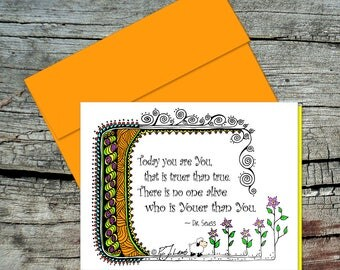 Youer Than You Greeting Card, Dr. Seuss Quote