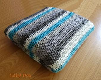 Lounge/Lap Blanket, Single Bed Blanket, Baby Crib/Stroller/Pram/Reception Blanket, Hand Made in Teale Blue, White and Greys
