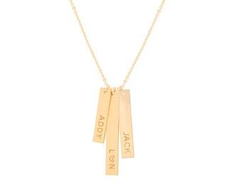 Gold Triple Vertical Bar Necklace / Vertical Nameplate Necklace / Vertical Name Necklace