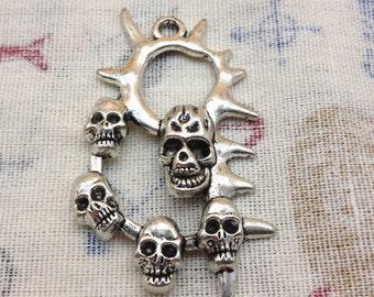 5pcs 38x60mm antique silver color metal skull charm , metal skull pendant