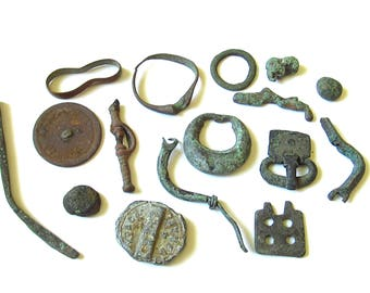 """16 antique pieces, archaeological finds, ancient fragments, Set of archaeological finds, archeology, finds with a metal detector. """"0103"""""""