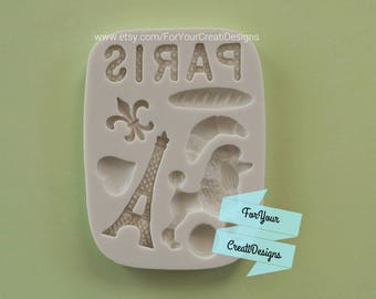 Paris Themed silicone mold 11 cavities. For chocolate, resin, fondant, clay
