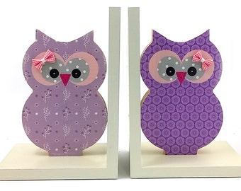 Wooden Owl  Bookends children room decoration , wooden Owl bookend in purple . Girls room