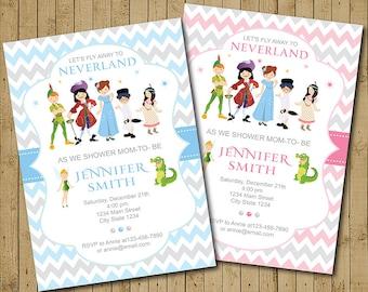 Neverland Baby Shower Invitation, Neverland Invite, Peter pan Baby Shower Invite, Blue, Pink, Grey, Boys, Girls, Printable