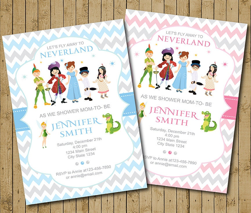 Neverland Baby Shower Invitation Neverland Invite Peter pan