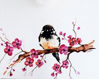 ORIGINAL Watercolor Painting, Chickadee Bird With Pink Flowers, Bird Illustration 6x8 inch