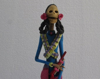 SOLDIER CATRINA revolutionary mexican folk art day of the dead sculpture 15""