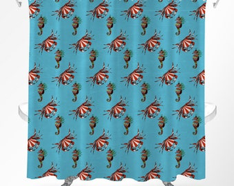 Seahorse Shower Curtain, Ocean Shower Curtain, Life Aquatic Bathroom, Kids Shower Curtain, Under The Sea Bathroom, Cool Shower Curtains
