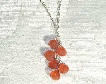 Carnelian Gemstone Cluster Sterling Silver Necklace, Orange Necklace, Drop Necklace, Cluster Necklace, Carnelian Necklace, Mother's Day Gift