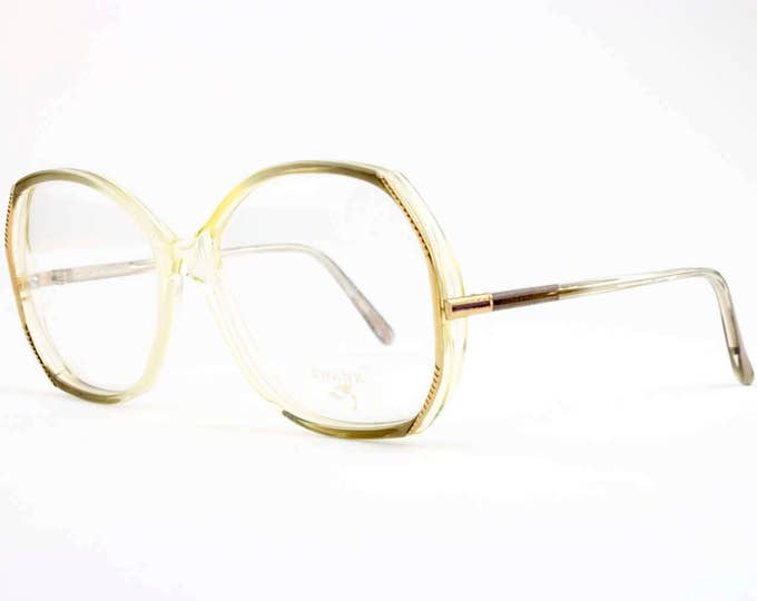 80s Vintage Glasses   Clear Round Eyeglasses   NOS 1980s Eyeglass Frame   Deadstock Eyewear - Mona 859