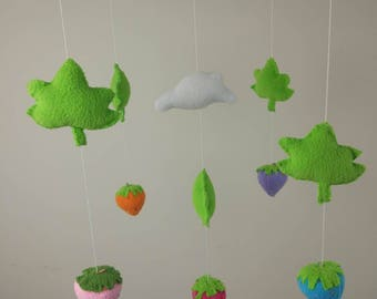 strawberry baby mobile Nursery decoration ,Nature Mobile,Baby Mobile Hanging,Crib Mobile