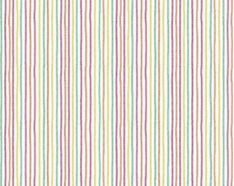 """Chains Magenta by Waverly Inspirations - Green, Orange, Yellow, Pink Chainlink 1/8"""" Stripes on White - Cotton Fabric"""