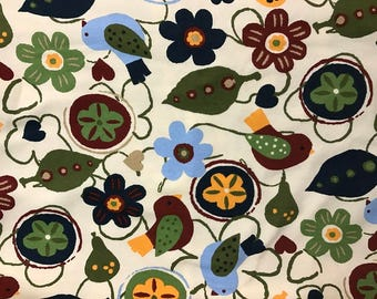 Birds & Floral Cotton Lycra Knit Fabric