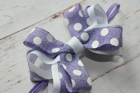 Lilac and white polka dot bow headband - Baby / Toddler / Girls / Kids Headband / Hairband / Hair bow / Barrette / Hairclip