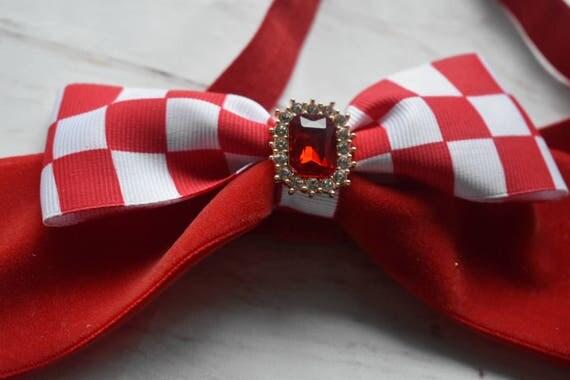 Red and white velvet bow - Baby / Toddler / Girls / Kids Headband / Hairband / Hair bow / Barrette / Hairclip