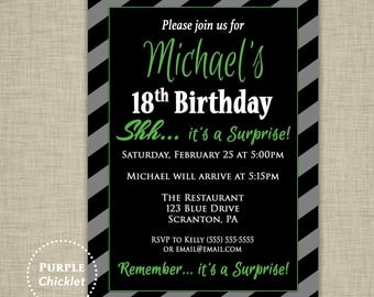 Green Surprise Party 18th 30th 40th Birthday Invitation Mens Masculine Invite Black Gray Invite Stripes Adult Party Printable Invite 354