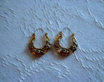 Gold Hoop Flower Earrings,Vintage Rose Hoop Earrings