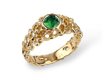 CORAL Gold Emerald Engagement Ring, Emerald Solitaire Ring, Gold Emerald Ring Gold, Unique Engagement Ring, Gold Emerald Band