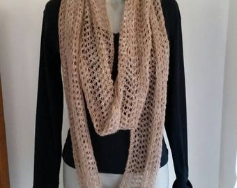 Wool, Hand Made  Hand Spun Hand Knitted Lace Infinity Scarf. Natural Colour  (no dye used)