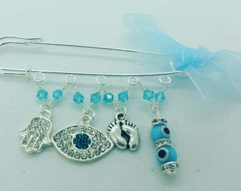 baby accessories, stroller accessories, evil eye safety pin, stroller pin, hamsa pin, blue baby pin, bris gift, baptism pin, christening pin