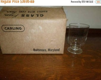Save 25% Now Set of Six Vintage Carling Black Label Beer Hollow Stem Glasses Baltimore MD Brand New In Box