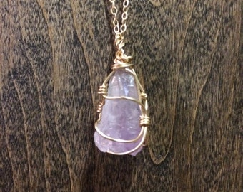 Raw Amethyst Crystal Necklace, Amethyst Point, Wire Wrapped Amethyst, Dainty Necklace