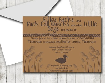 Duck Hunting Theme, DIY Shower, Baby Shower Invitation, Outdoors Theme Invites, Printable Duck Hunting Theme, Baby Shower, Boy Shower Invite