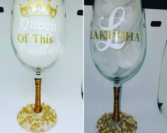 Personalized Queen Of This Castle Wine Glass