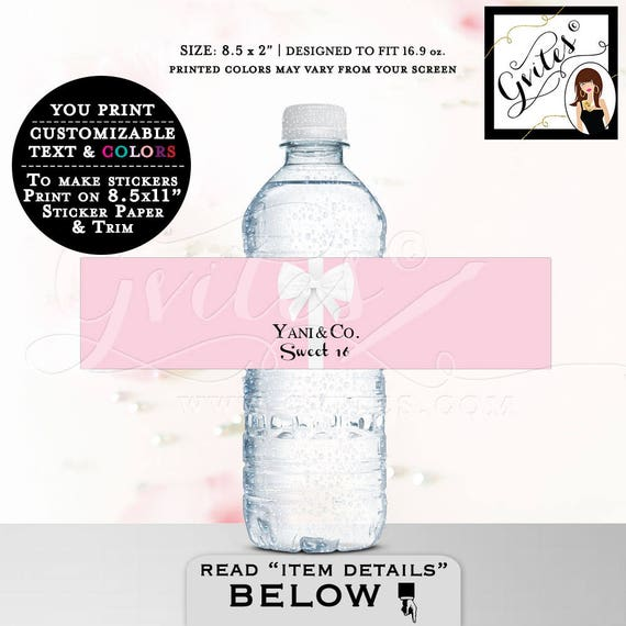 "Sweet 16 & Co Water Bottle Labels, customizable stickers, PRINTABLE, breakfast at decorations, tags, digital download, 8.5x2"" 3 Per Sheet."
