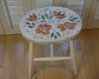 Vintage Wooden Stool - Hand painted Chippy chic