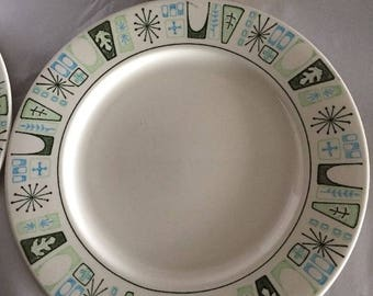 "4 Taylor Smith Cathay Dinner Plates 10.5"" Atomic Starburst Taylorstone"