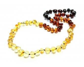 Authentic baltic amber necklace for adult. Rainbow. 44-46 cm/17.3-18.1 in