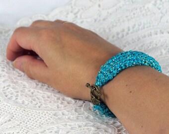 Crochet bracelet, turquoise with Lurexfaden, crocheted bracelet, 19.0 x 2.0 cm, bracelet gift for women, Friendship Bracelet, crochet,