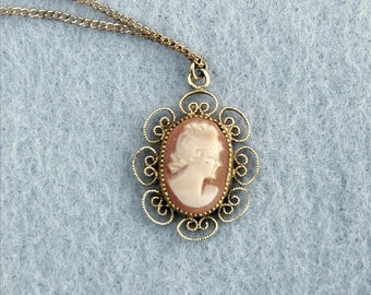 Gold Plated Cameo Pendant with Gold Filled Chain Necklace Vintage